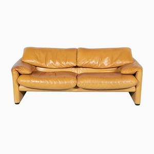 Vintage Leather 2-Seater Sofa by Vico Magistretti for Cassina