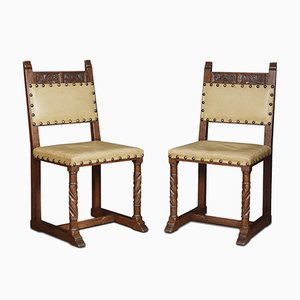 Antique Oak Dining Chairs, Set of 6