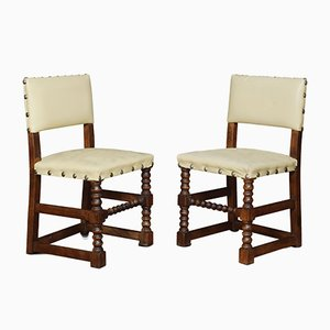 Antique Oak Dining Chairs, Set of 10
