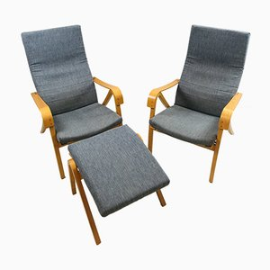 Vintage Rimbo Lounge Chairs & Ottoman by Simo Heikkila for Ikea, 1996, Set of 3