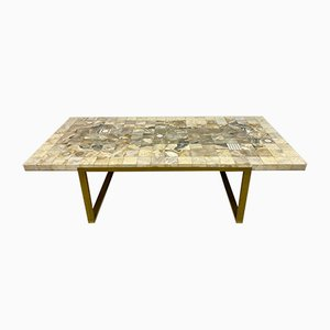 Vintage French Mosaic Marble, Onyx, and Brass Coffee Table, 1970s