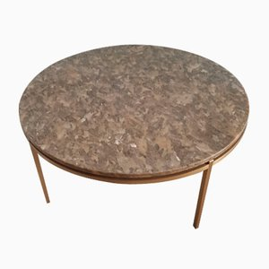 Round Coffee Table on Brass Frame, 1970s