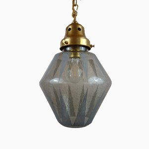 Mid-Century Brass Hall Lantern Ceiling Lamp with Etched Glass Shade