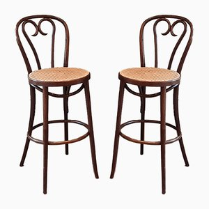 Bentwood and Rattan No. 16 Barstools from ZPM Radomsko, 1960s, Set of 2