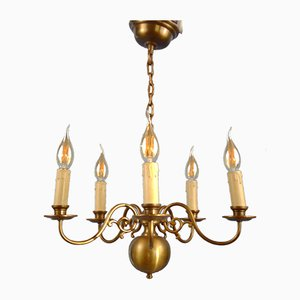 Vintage Swedish Bronze Alloy 5-Light Chandelier