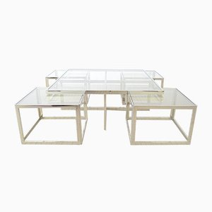 Hollywood Regency Chrome Coffee Table and Nesting Tables Set from Maison Charles, 1990s
