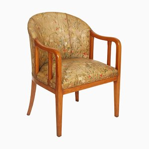 Art Deco French Walnut Lounge Chair Attributed to Jules Leleu, 1930s