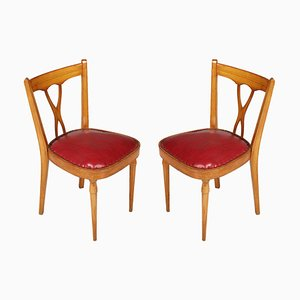 Mid-Century Italian Desk Chairs Attributed to Melchiorre Bega, 1940s, Set of 2