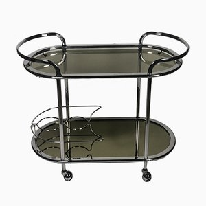 Tubular Chrome-Plated Metal & Glass Plate Trolley Table, 1970s
