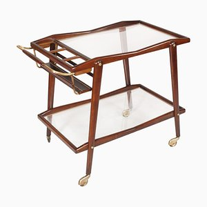 Mid-Century Italian Walnut, Crystal, and Gilt Brass Trolley Bar by Cesare Lacca, 1950s