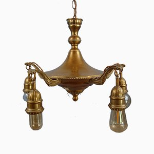 Antique Art Nouveau Bronze Alloy Chandelier, 1910s