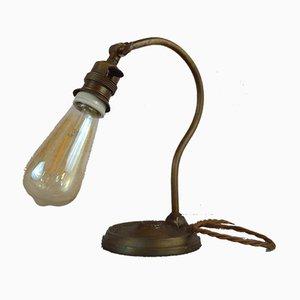 Schwanenhals Messing Tischlampe, 1920er