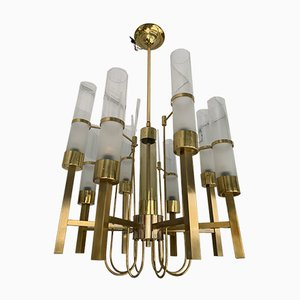 Italian Brass and Glass Chandelier from Sciolari. 1960s