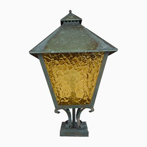 Copper Garden Lamp with Yellow Glass, 1970s