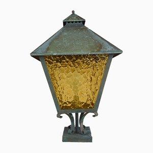 Lámpara de jardín de cobre con vidrio amarillo, años 70