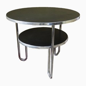 Vintage Bauhaus Metal and Black Linoleum Loop Side Table from Mauser Werke Waldeck