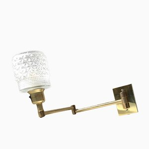 Vintage Danish Adjustable Brass and Glass Sconce from Abo Metallkunst, 1970s