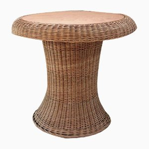 Vintage Rattan Table with Built-in Wooden Board, 1970s