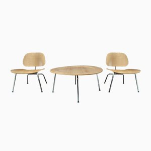 Mid-Century Lounge Chairs and Coffee Table Set by Charles & Ray Eames for Vitra, Set of 3