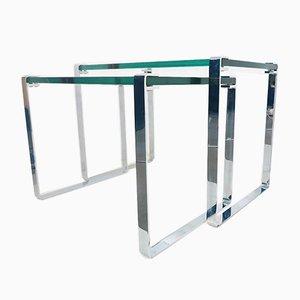 Mid-Century Chrome and Glass Nesting Tables by Peter Draenert for Draenert, Set of 2