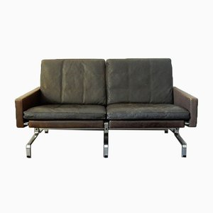 Mid-Century Brown Leather Model PK-31/2 Sofa by Poul Kjærholm for E. Kold Christensen, 1950s