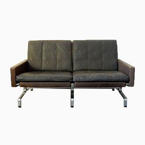 Mid-Century Brown Leather Model PK-31/2 Sofa by Poul Kjærholm for E. Kold Christensen, 1950s