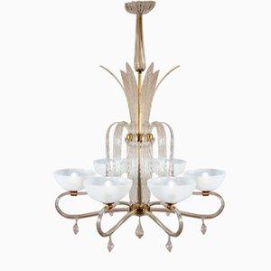 Lampada da soffitto vintage in vetro di Murano di Ercole Barovier per Barovier & Toso, anni '40