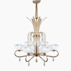 Vintage Murano Glass Ceiling Lamp by Ercole Barovier for Barovier & Toso, 1940s