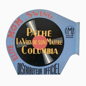 Mid-Century Sheet Metal Double Sided Pathé Columbia Advertising Plate