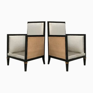 Mid-Century Ebonized Wooden Lounge Chairs, Set of 2