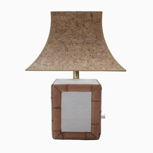 German Ceramic Table Lamp with Cork Shade from Leola, 1970s