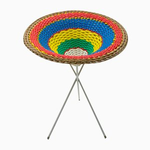Mid-Century Tripod Wicker Presentation Basket, 1950s