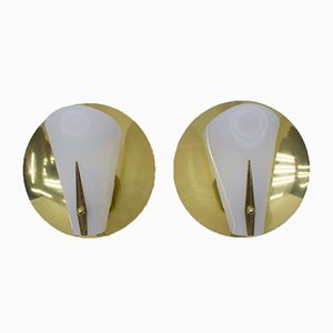 Mid-Century Brass Sconces, 1950s, Set of 2