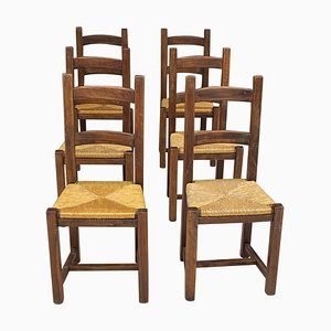Chairs in Straw and Wood, France, 1950s, Set of 6