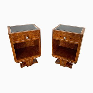 Art Deco Nightstands in Amboyna Roots Veneer, France, 1920s, Set of 2