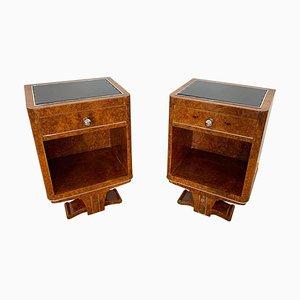 Tables de Chevet Art Déco en Placage de Racines d'Amboyna, France, 1920s, Set de 2