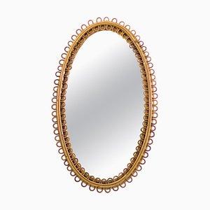 Mid-Century Italian Rattan Oval Mirror