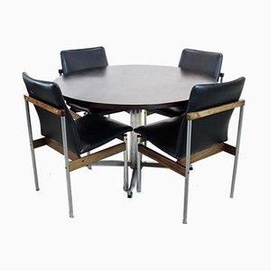 Rosewood Dining Set with Round Table & Thereca Chairs by Cees Braakman & Fristho, Set of 5