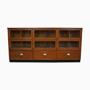 Vintage Dutch Oak Haberdashery Shop Cabinet, 1950s