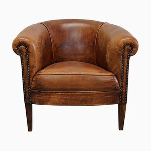 Vintage Dutch Cognac-Colored Leather Club Chair