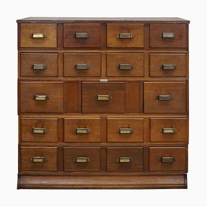 Vintage Dutch Oak Apothecary Cabinet or Filing Cabinet, 1930s
