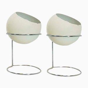 Lampes de Bureau Sphère Vintage en Métal, 1960s, Set de 2