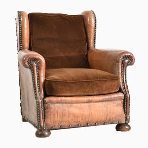 French Leather Wingback Club Chair, 1930s