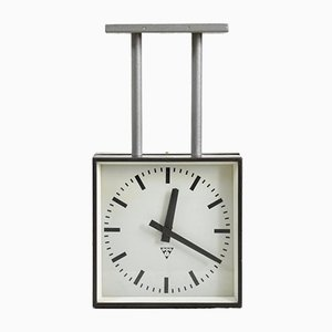 Small Vintage Double Sided Ceiling Clock from Pragotron