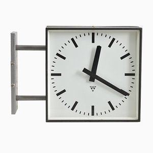 Large Vintage Double Sided Wall Clock from Pragotron