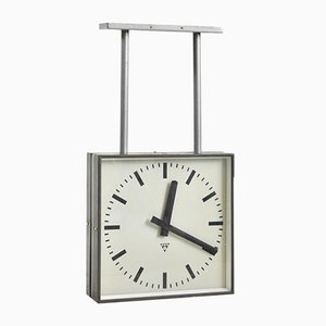 Large Vintage Double Sided Ceiling Clock from Pragotron