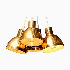 Lámparas colgantes suecas de latón de Hans-Agne Jakobsson para Markaryd, años 60. Juego de 4