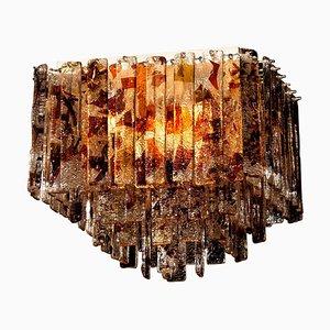 Italian Multi-Colored Square Venini Murano Crystal Ceiling Lamp by Ragazzi Murano for Mazzega, 1960s