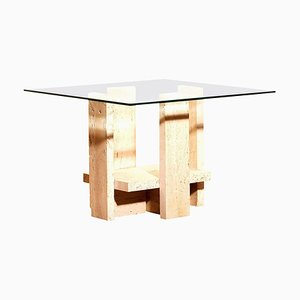Glass Travertine Side Coffee Table by Willy Ballez, 1970s
