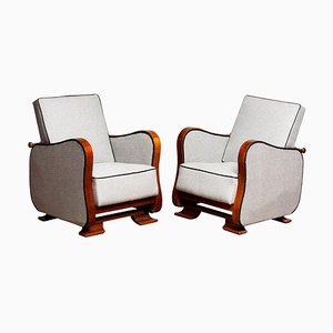 Scandinavian Art Deco Lounge Chairs in Silver Grey on Walnut, 1920s, Set of 2